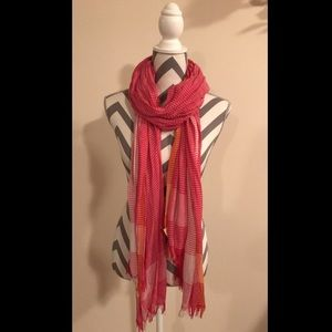 American Eagle Pink and Orange Striped Scarf